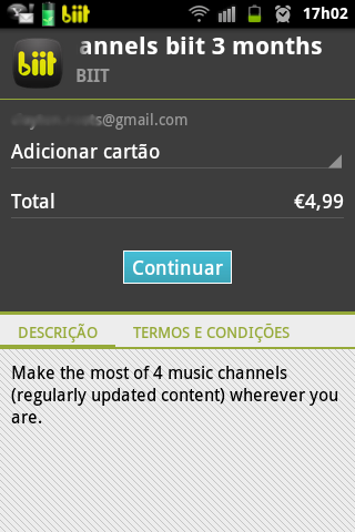 Pagamento no Google Play - biit