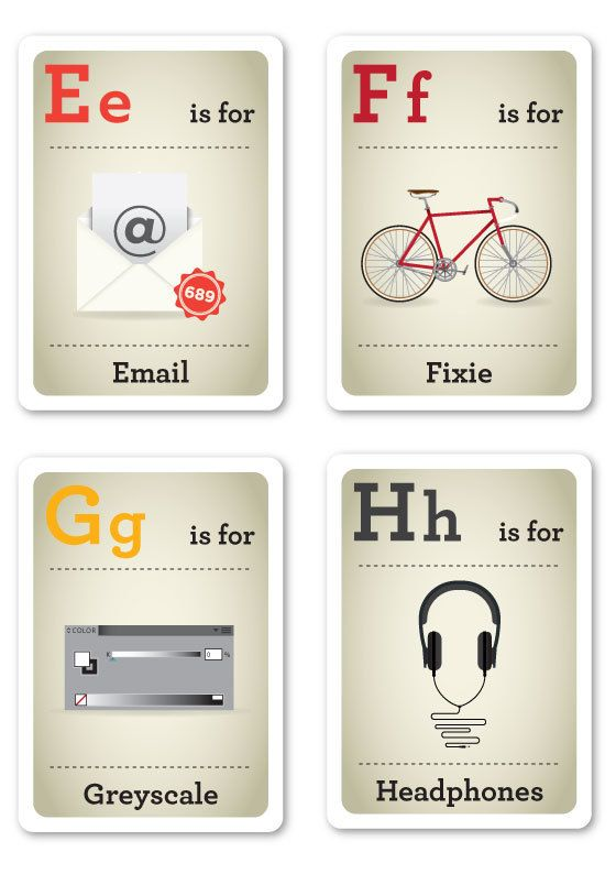 Hipster Flash Cards E-H